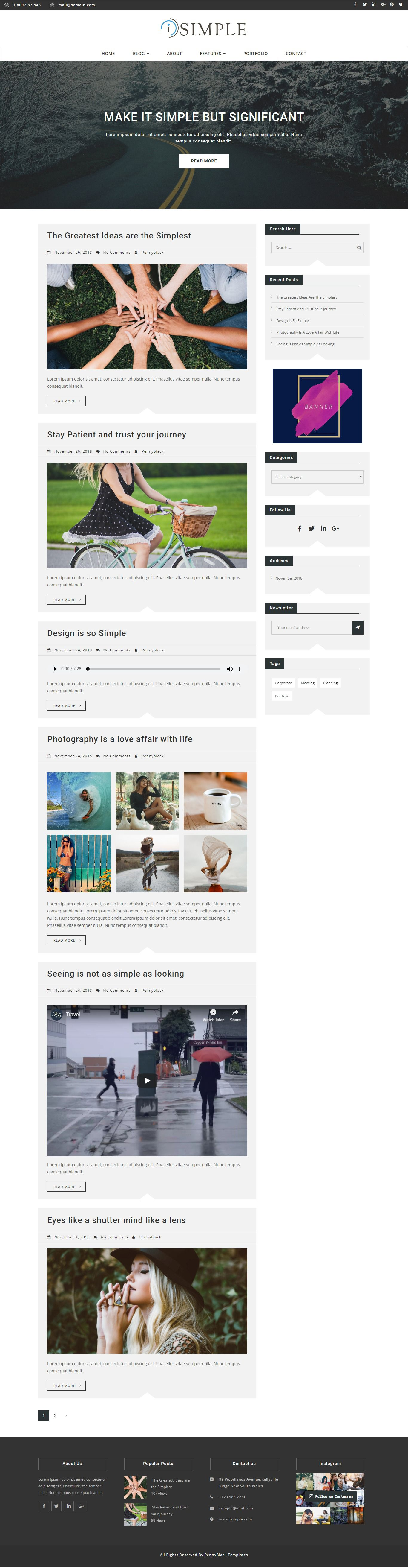 iSimple - WordPress Blog Theme Screenshot 1