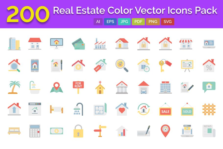 200 Real Estate Color Vector Icons Pack Screenshot 1