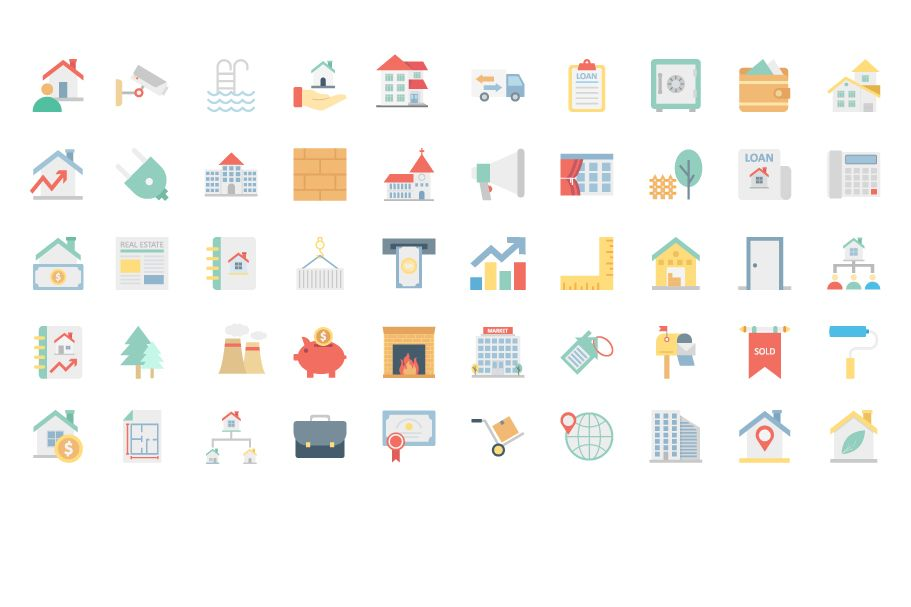 200 Real Estate Color Vector Icons Pack Screenshot 2