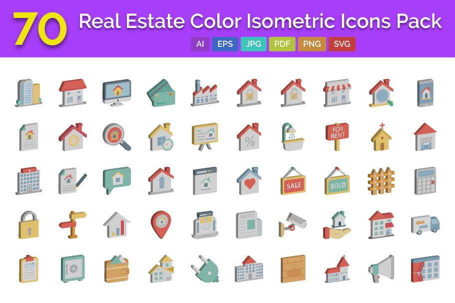 70 Real Estate Color isometric Vector icons Pack  Screenshot 1