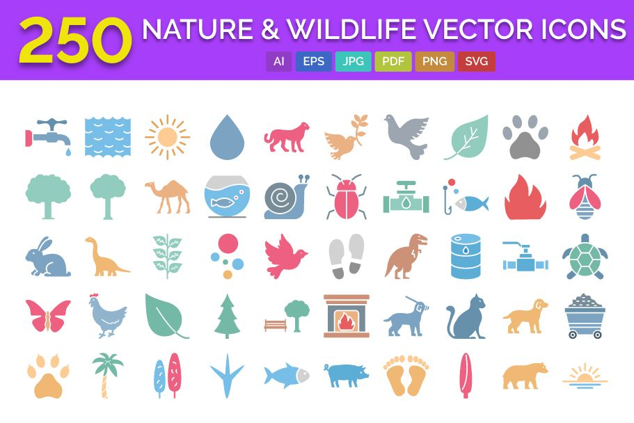 250 Nature & Wildlife Vector Icons Screenshot 1