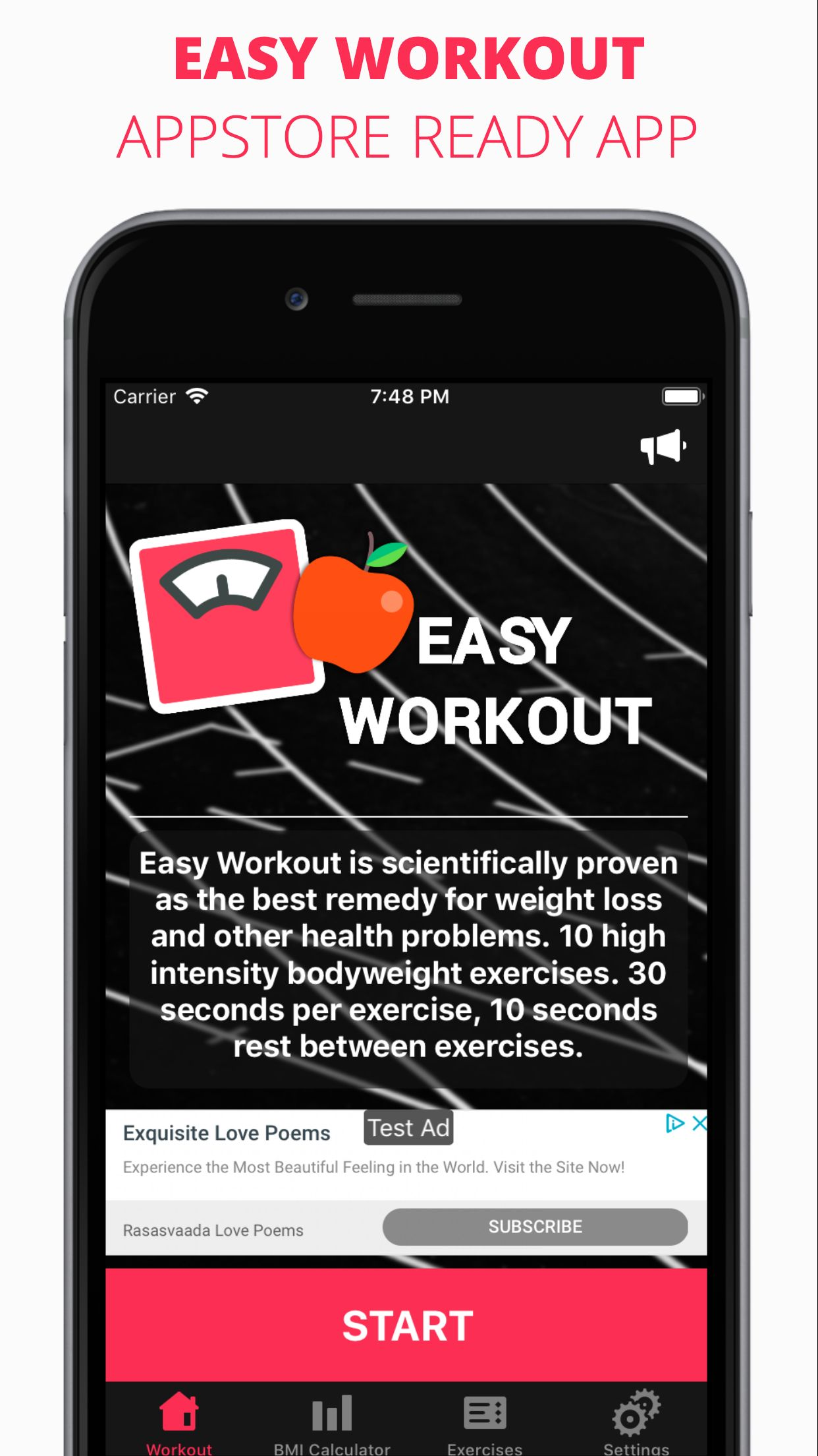 Easy Workout - iOS Fitness Application  Screenshot 1