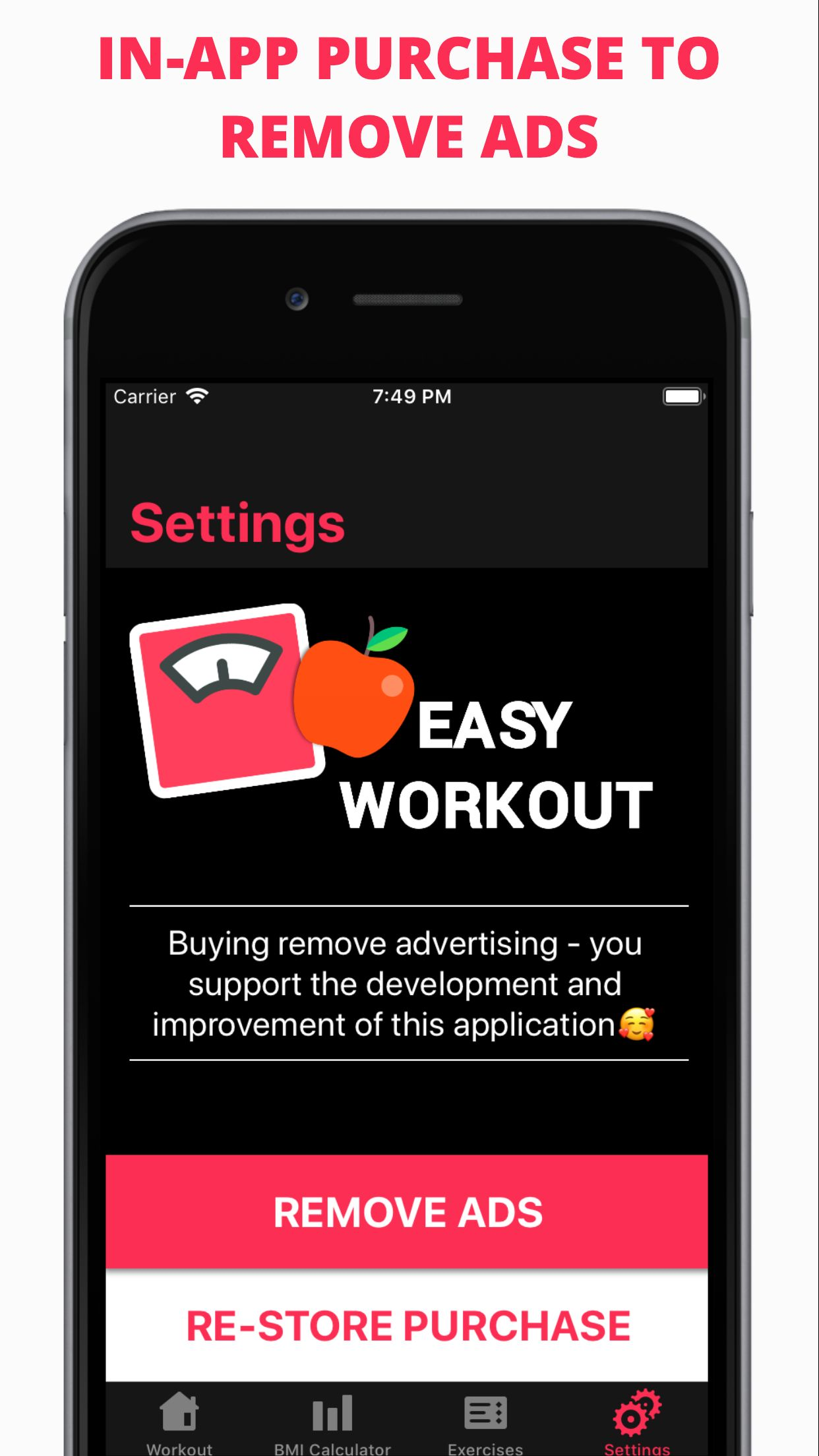Easy Workout - iOS Fitness Application  Screenshot 3