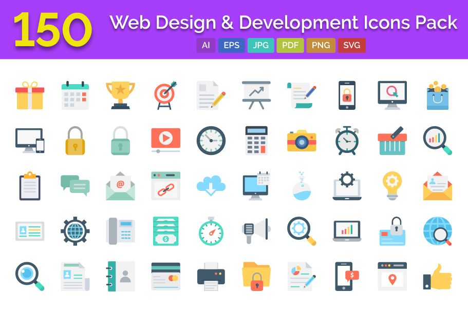 150 Web Design And Development Vector Icons Screenshot 1
