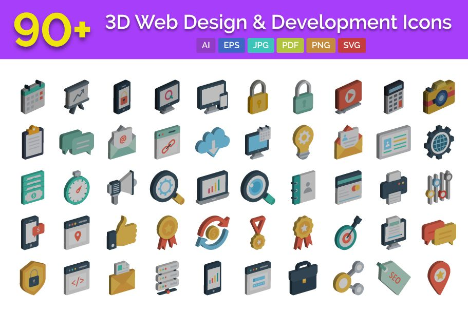 90 3D Web Design And Development Vector Icons Screenshot 1