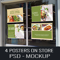 Posters Mockup on Store - One PSD Template
