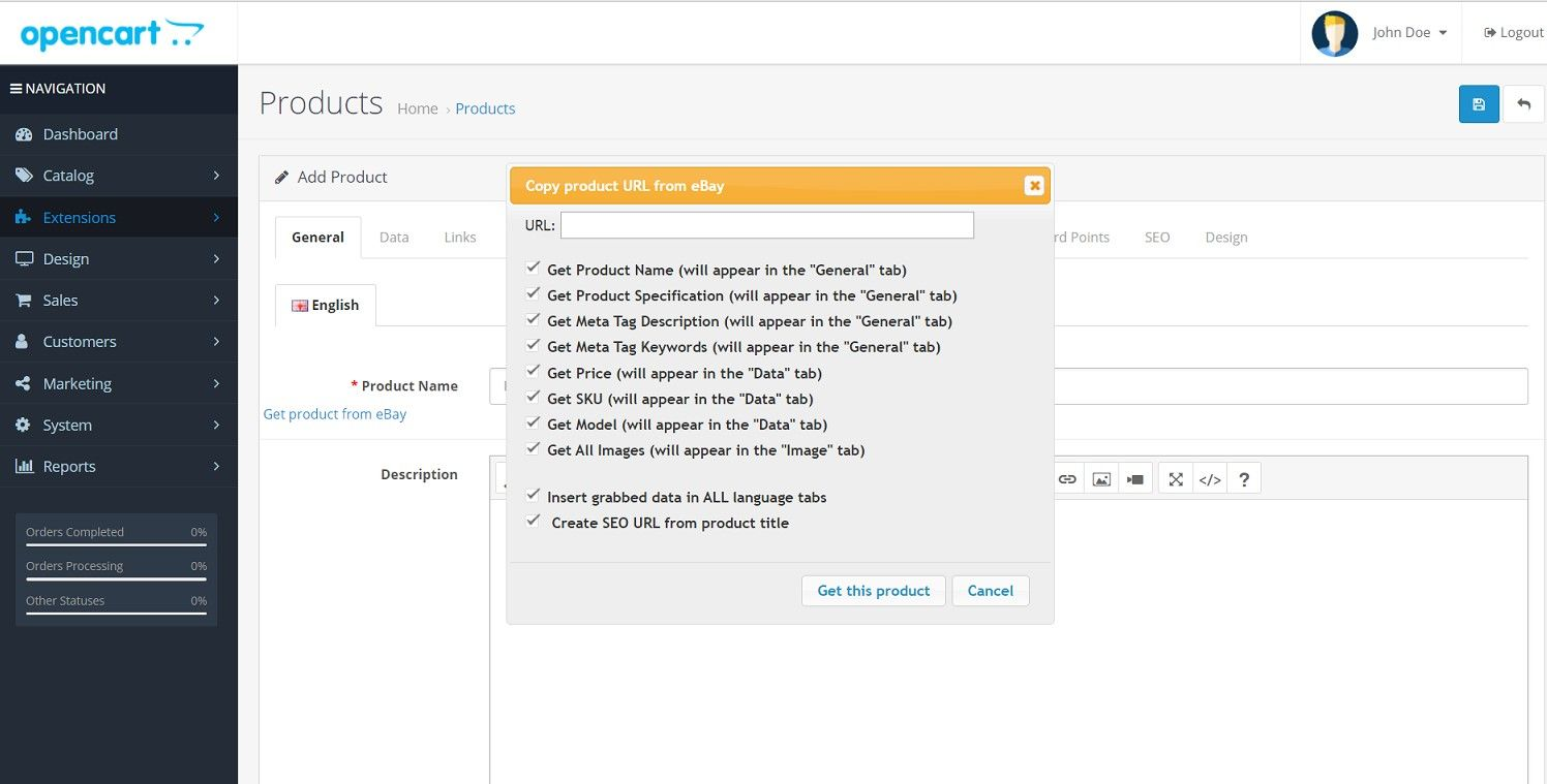 Import product From eBay - OpenCart Extension Screenshot 1