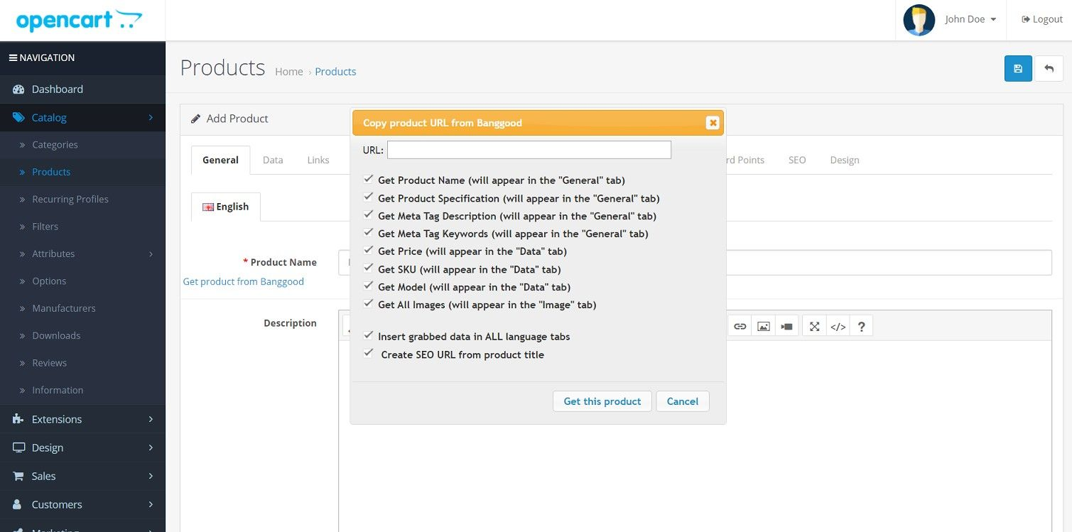 Import product from Banggood - OpenCart Extension Screenshot 1