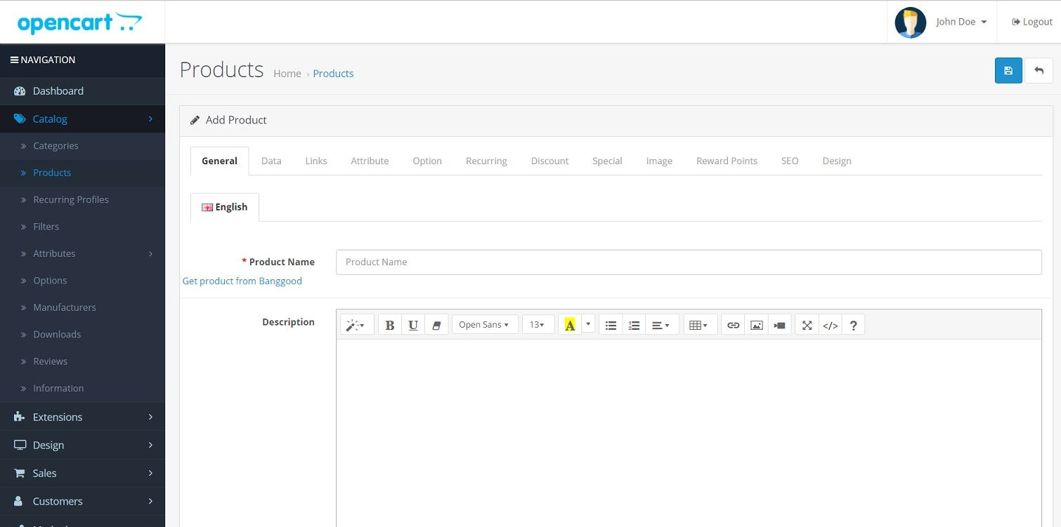 Import product from Banggood - OpenCart Extension Screenshot 4