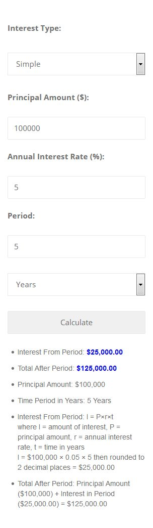 Interest Calculator For WordPress Screenshot 3