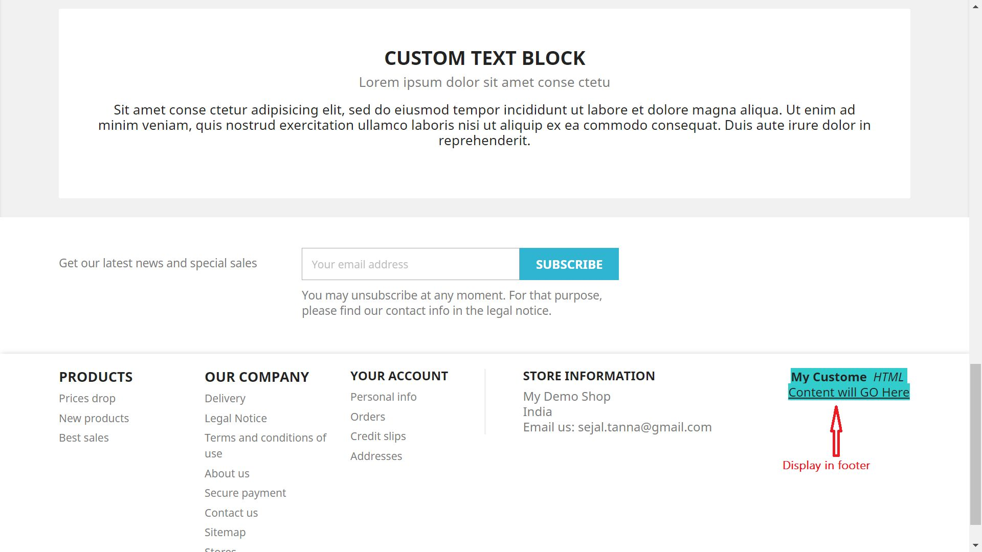 Display Custom HTML Content For PrestaShop Screenshot 2