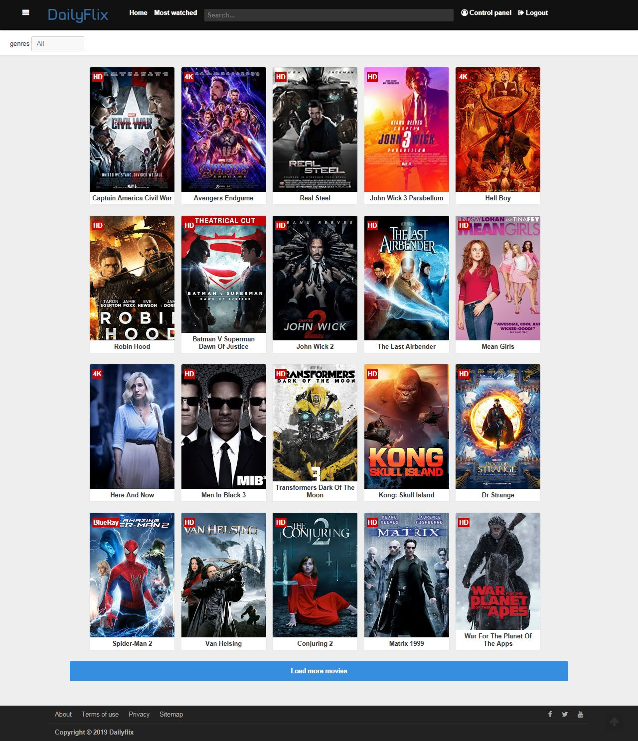 Dailyflix - Ultimate PHP Movie Script Screenshot 1