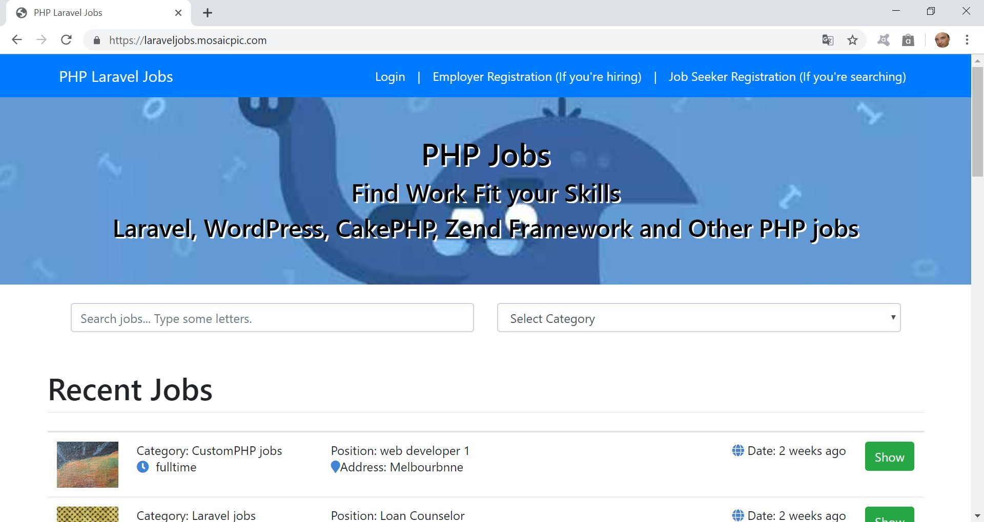 PHP Jobs Site  - Laravel And VueJs Screenshot 1