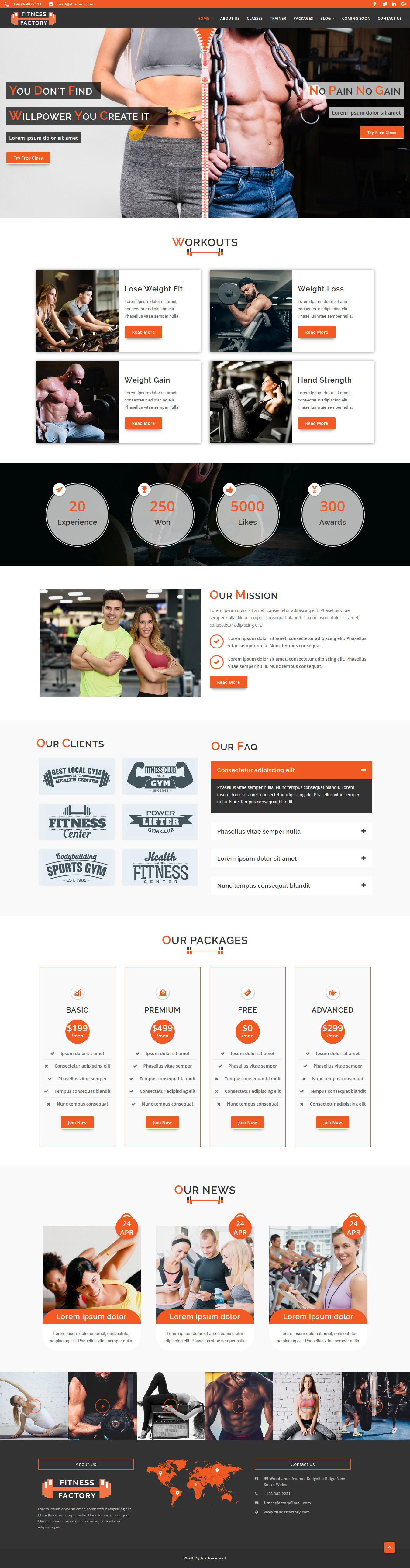 FitnessFactory - WordPress Theme Screenshot 1