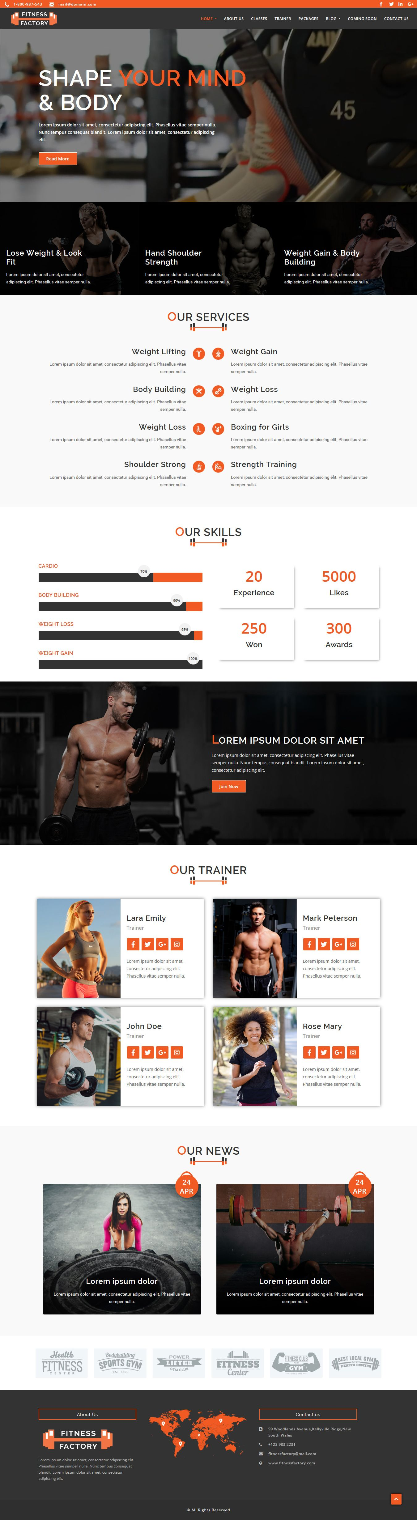 FitnessFactory - WordPress Theme Screenshot 3