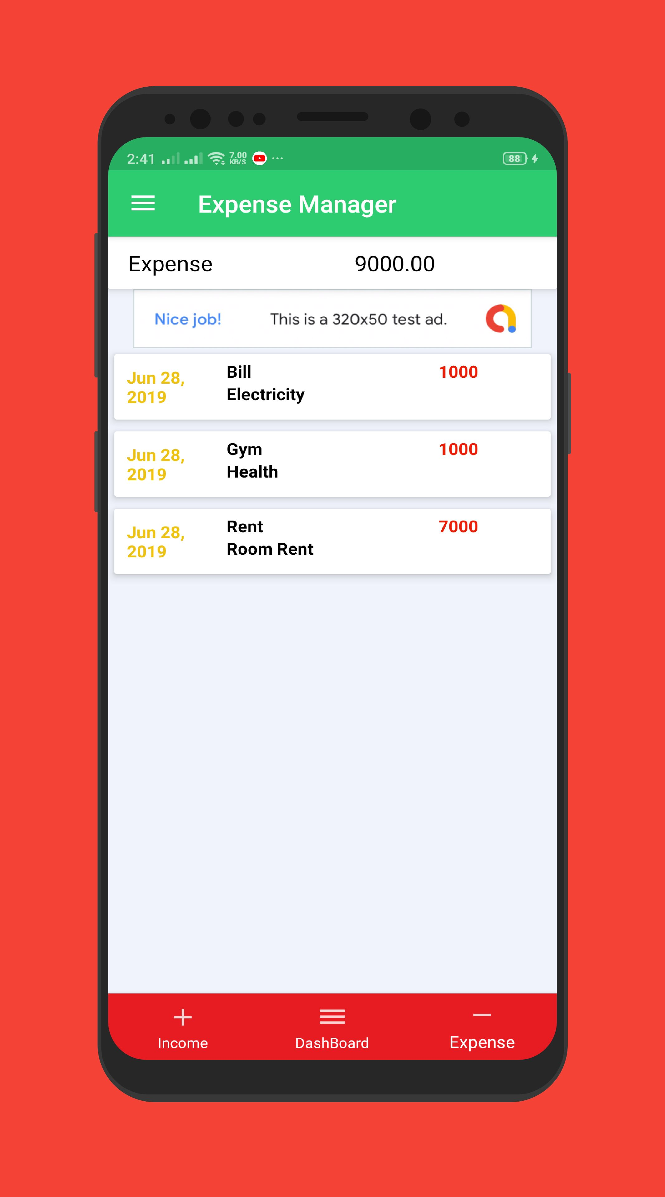 Expense Manager - Android Source Code Screenshot 3