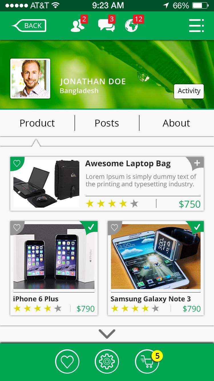 Online Shop & Social Communication iOS App UI Kit Screenshot 17