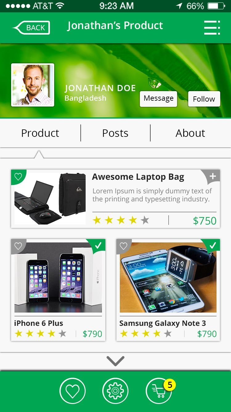 Online Shop & Social Communication iOS App UI Kit Screenshot 28
