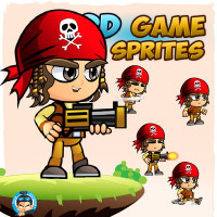 Pirate Boy 2D Game Character Sprites