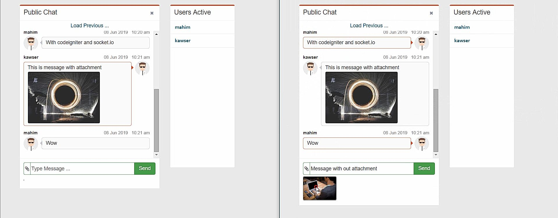 Codeigniter Socket IO Real Time Chat