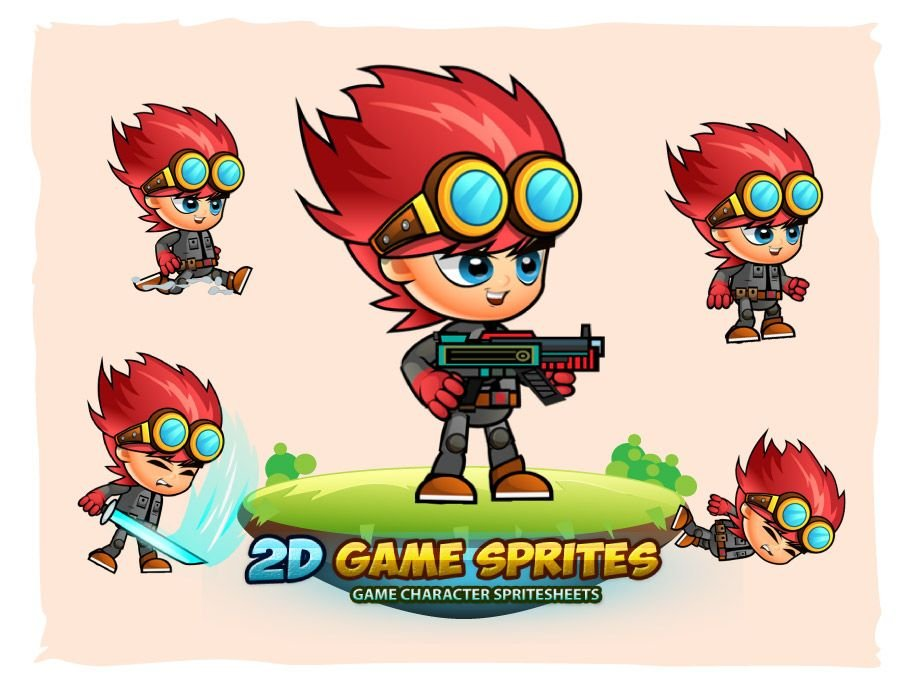 Red 2D Game Sprites Screenshot 1