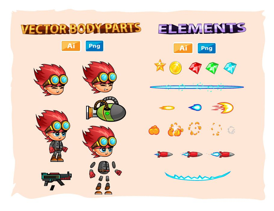 Red 2D Game Sprites Screenshot 3