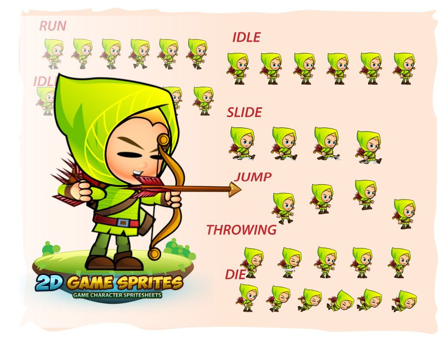 Archer 2D Game Character Sprites Screenshot 2