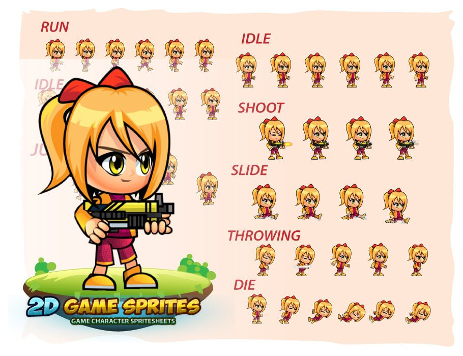 Sophie 2D Game Character Sprites Screenshot 2