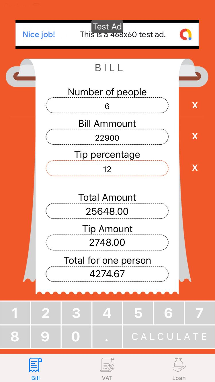 Loan VAT and Bill Calculator with AdMob For iOS Screenshot 1
