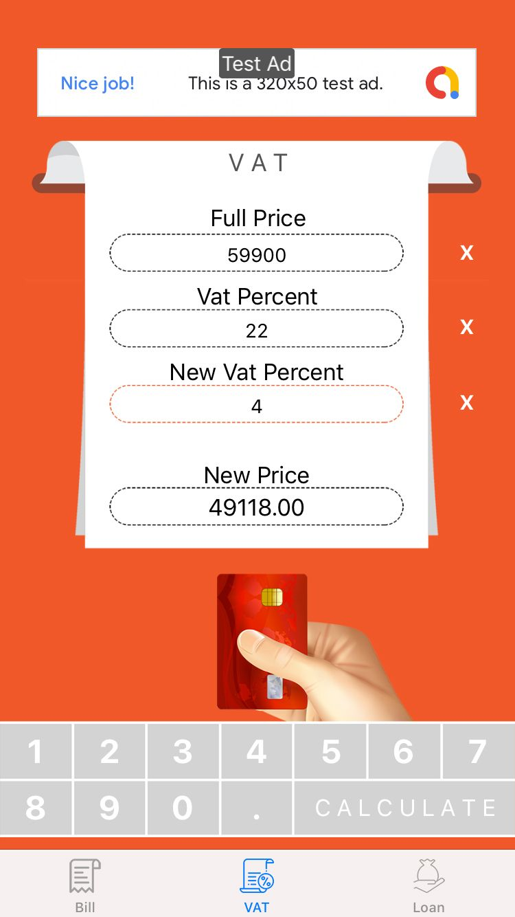 Loan VAT and Bill Calculator with AdMob For iOS Screenshot 2