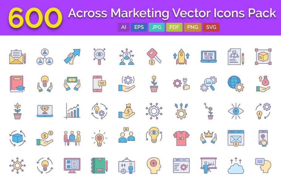 600 Cross Marketing Vector Icons Pack Screenshot 1