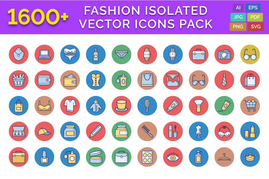 1600 Fashion Isolated Vector Icons Pack Screenshot 1