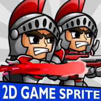 Red Spartan 2D Game Character Sprite