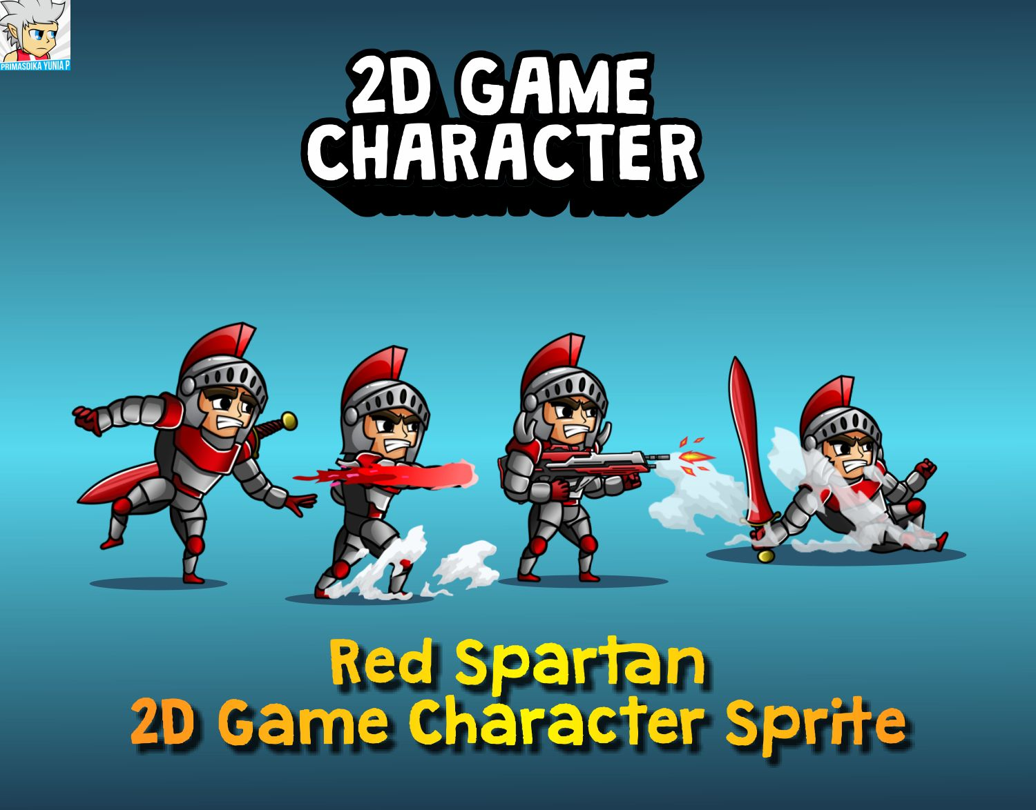 Red Spartan 2D Game Character Sprite Screenshot 1