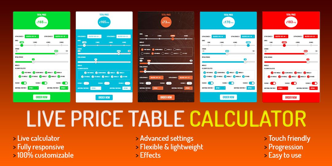 Live Price Table Calculator jQuery Screenshot 6