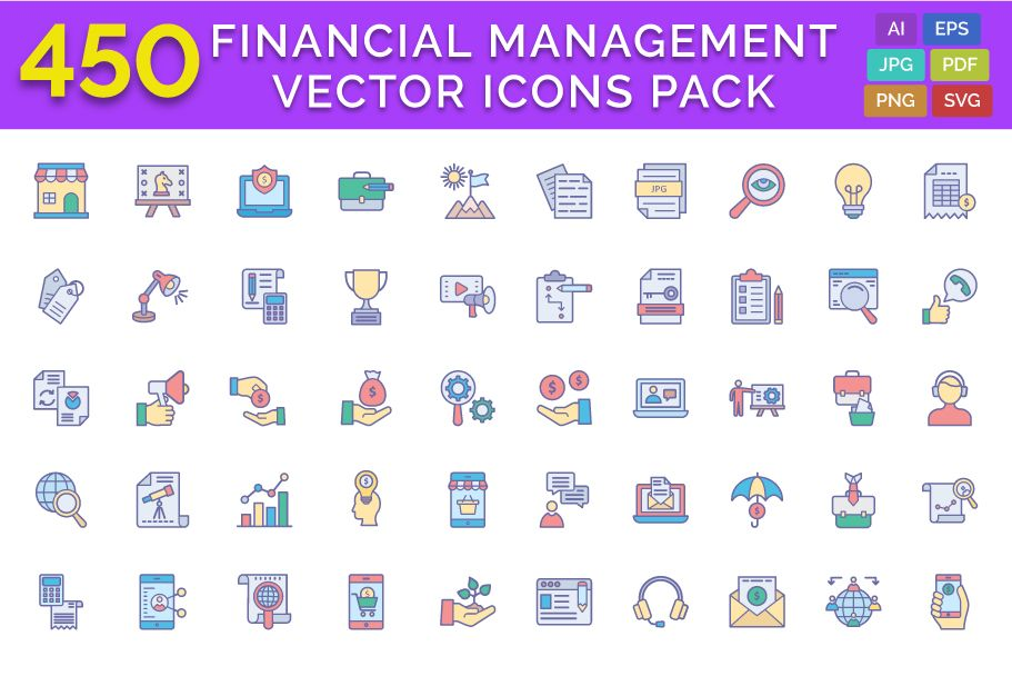 450 Financial Management Vector Icons Pack Screenshot 1