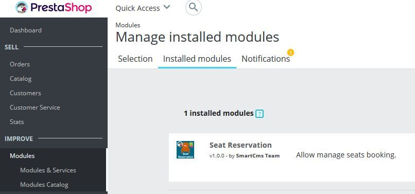 Seat Reservation Booking for PrestaShop Screenshot 1