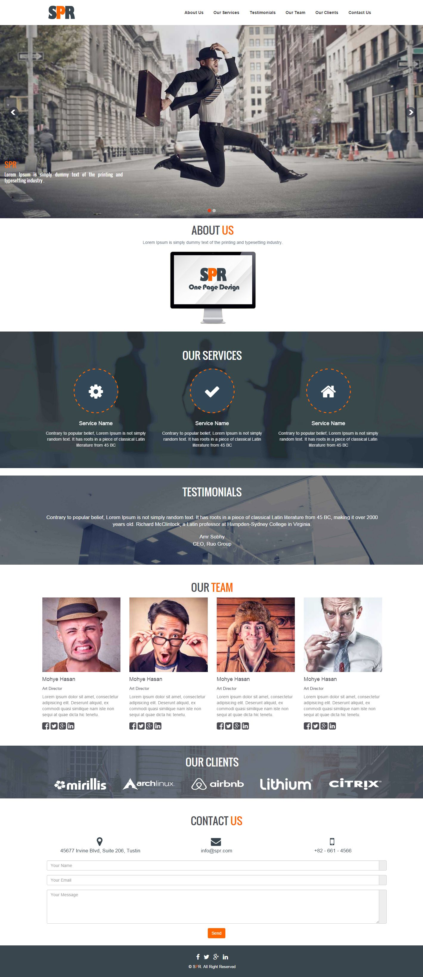 SPR - One Page Responsive HTML Theme Screenshot 1