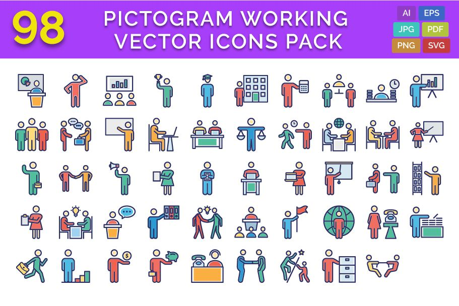 98 Pictogram Working Vector Icons Pack Screenshot 1