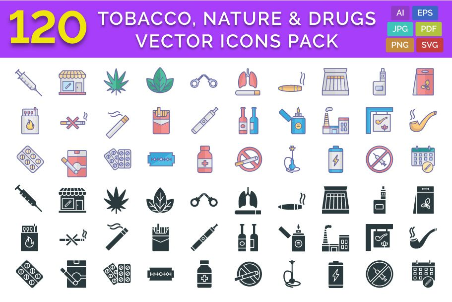 120 Tobacco Nature And Drugs Vector Icons Pack Screenshot 1