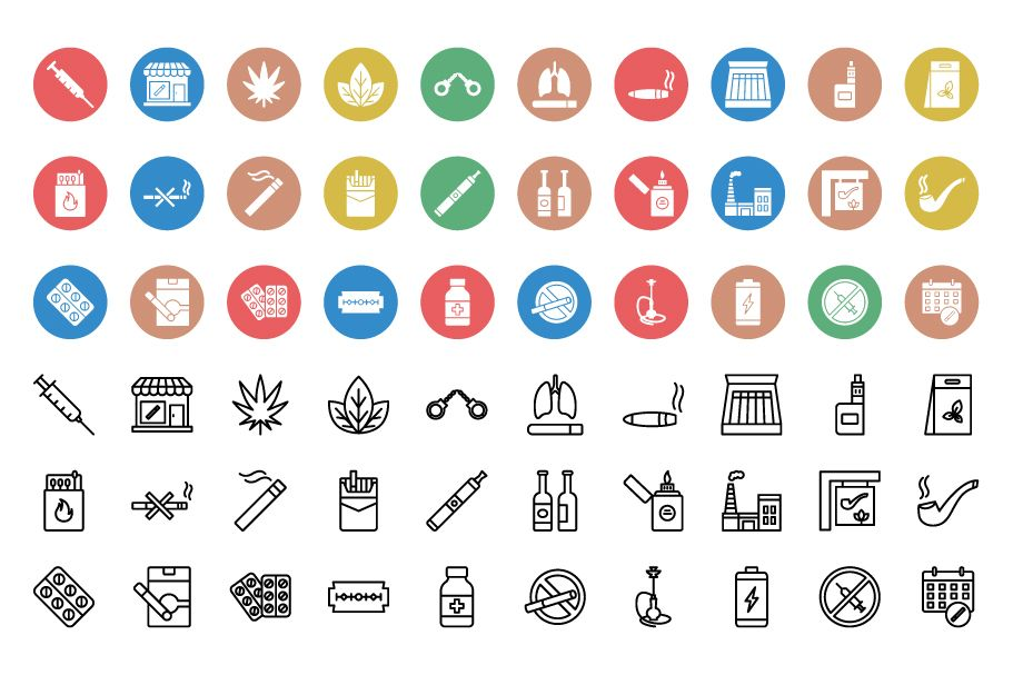 120 Tobacco Nature And Drugs Vector Icons Pack Screenshot 2