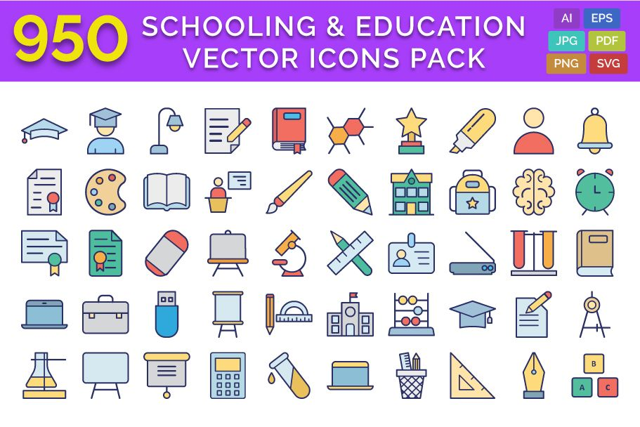 950 Schooling And Education Vector Icons Pack Screenshot 1