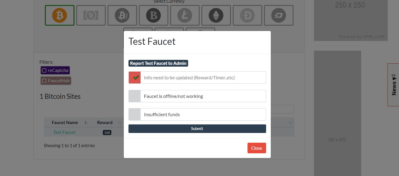 Manual Crypto Faucets List PHP Script Screenshot 1