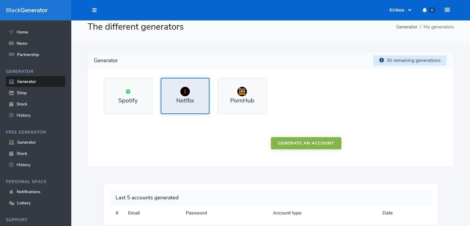 BlackGenerator - Account Generator Template