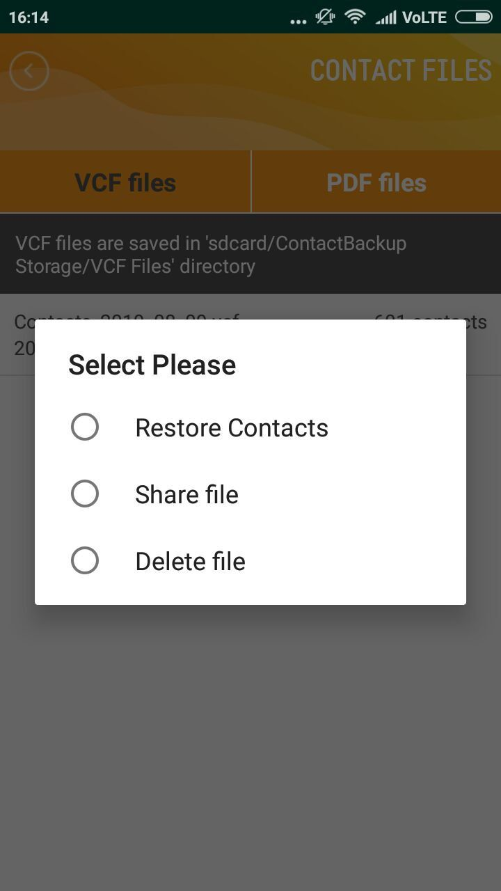 Contact Backup And Restore - Android Source Code Screenshot 5