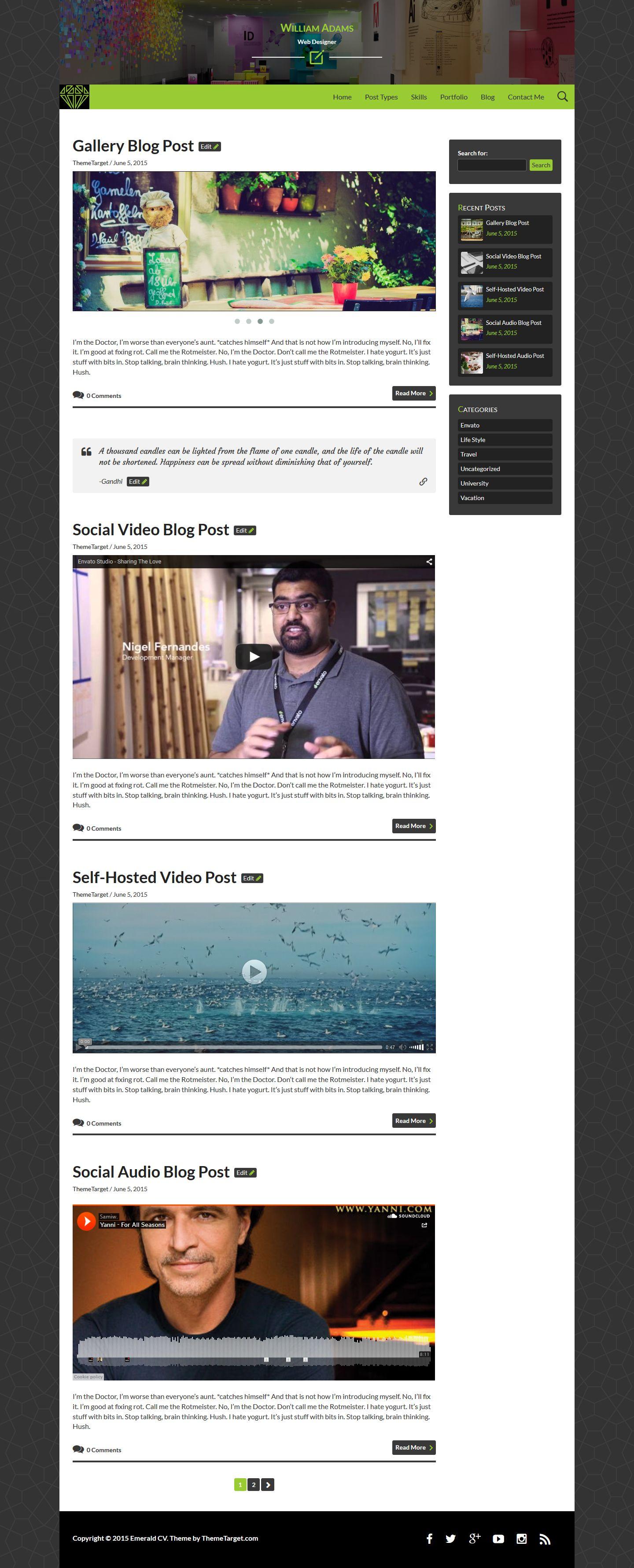 emerald cv wordpress resume theme screenshot 4