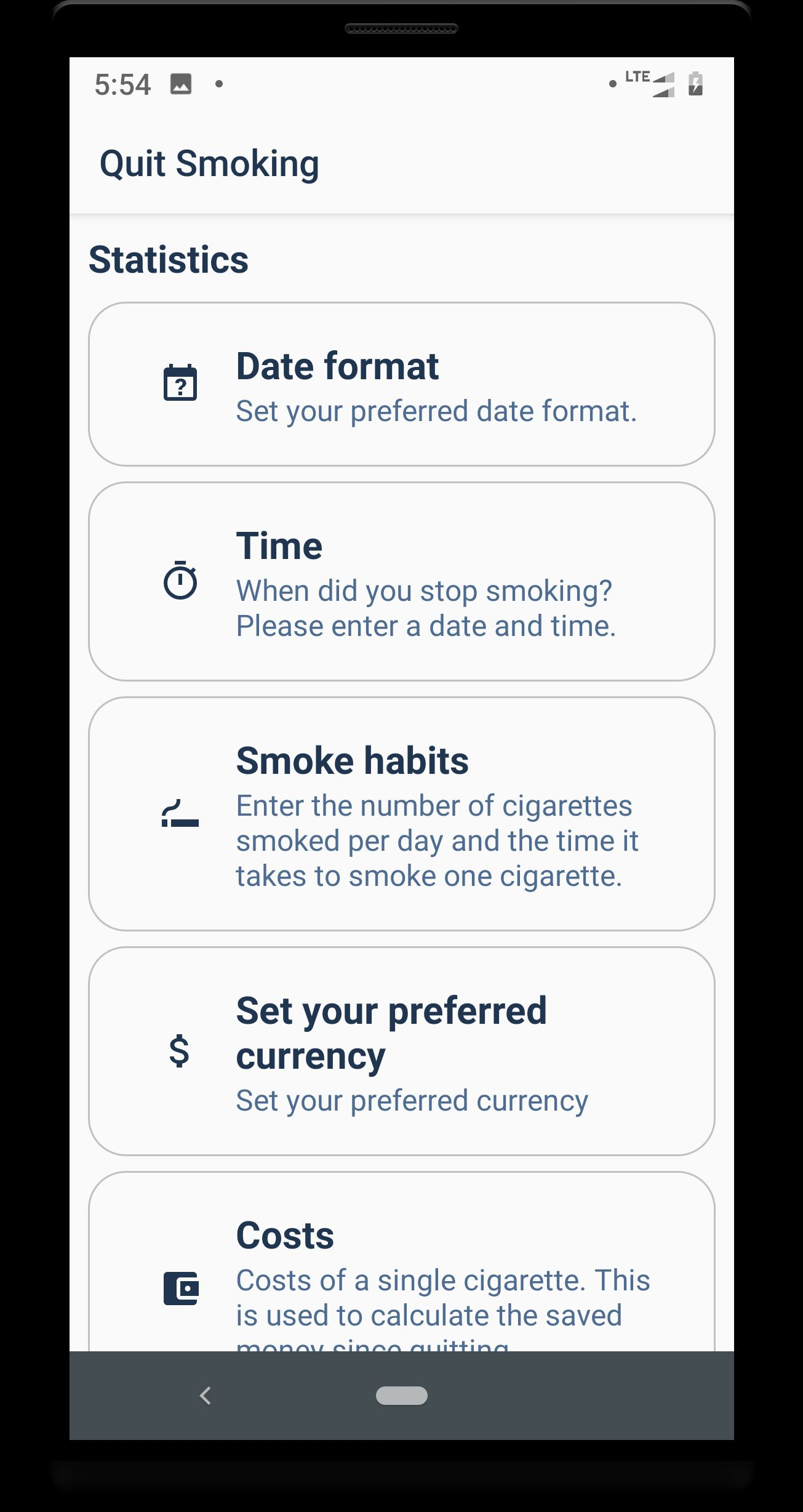 Quit smoking - Android Source code Screenshot 2