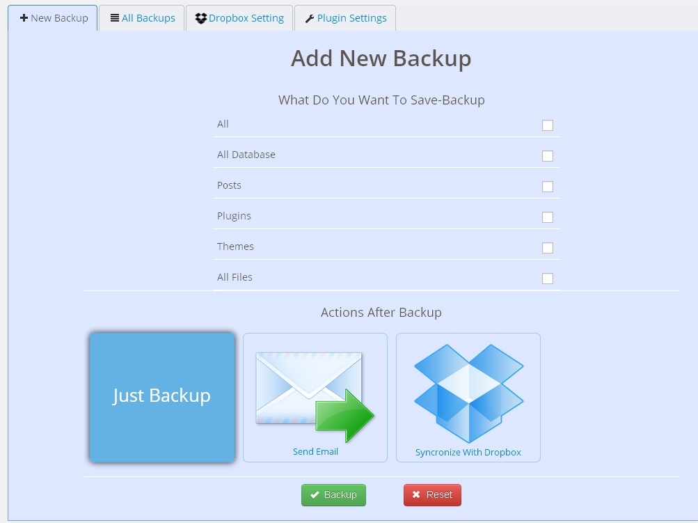 Backup KDT - Wordpress Plugin Screenshot 1