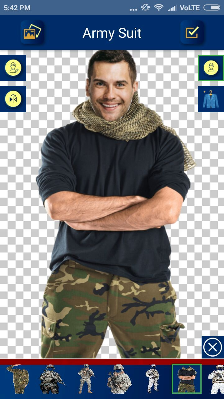 Army Suit Photo Editor - Android Source Code Screenshot 5