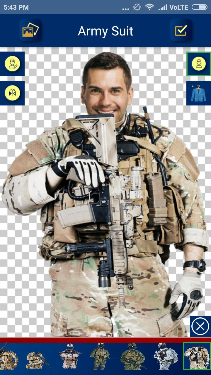 Army Suit Photo Editor - Android Source Code Screenshot 7